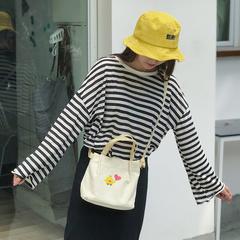 bag crossbody bag female Korean student harajuku college trend canvas girls 2019 single shoulder white 19cm*22cm*10cm
