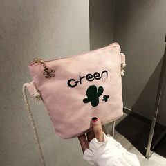 crossbody bag is chic with simple single shoulder and large capacity dual-purpose cactus canvas bag pink 22cm*17cm*7cm