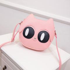 Korean little fresh student mini bag2019 Korean version little girl cute fox cross shoulder backpack pink 19cm*18cm*6cm