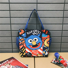 single shoulder bag students make-up bag girls simple light crossbody bag graffiti hip-hop cloth bag blue 31cm*36cm*7.5cm