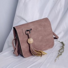 Girls' bags 2019  autumn/winter style han style simple single-shoulder bag cross-body bag small bag pink 15cm*6cm*15cm