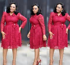 Fashion big yards long sleeve shirt collar lace cardigan accept waist a-line dress red l