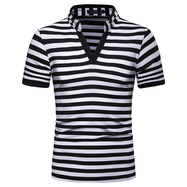 bf30c8d5c 2019 new men's V-neck striped fashion loose casual short-sleeved POLO t-