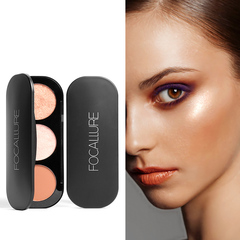 FOCALLURE 3 Colors Blush&Highlighter Palette Face Matte Highlighter Powder Illuminated Blush Powder #1