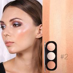 FOCALLURE 3 Colors Blush&Highlighter Palette Face Matte Highlighter Powder Illuminated Blush Powder #2