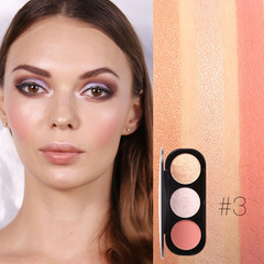 FOCALLURE 3 Colors Blush&Highlighter Palette Face Matte Highlighter Powder Illuminated Blush Powder #3