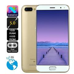Smartphones 5.0 inch dual hd camera android 6.0 1g+4g GPS gold