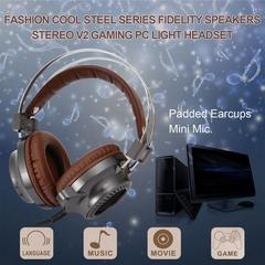 V2 Stereo Earphone Gaming Headset LED Light Hi-Fi