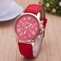 2017 New Fashion Watch Casual Men's Watch PU Women's Quartz Watches 6170G red