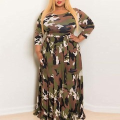 2019 INS Hot Sale Woman Large-Size Autumn and Winter Dresses Camouflage Dresses and Long Skirts Armygreen L