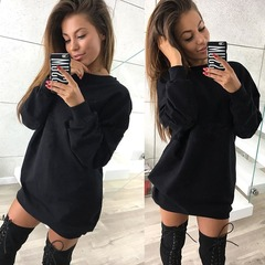 2019 Hot Sale 1 Pc Cotton Round Neck Long Sleeve Casual Solid Color Long Sweater Dress 10 Colors Black S