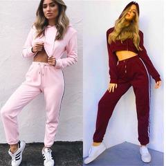 2018 Hot Sale 2 Pcs Cotton Clothing Set Women's Suit Ladies Sexy Leisure Two Piece Tracksuit Hooded Pink L