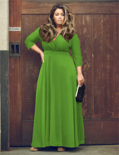 2018 Ins Hot Sale 1 Pc Cotton Women's Deep V Solid Color Extra Large Dress Wide Hem Dress green l