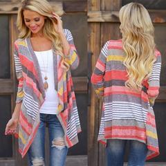 2018 Hot Sale 1 Pc Acrylic Women Sweater Waterfall 3/4   Sleeve Knitwear Cardigan Stripe Floral Tops red s