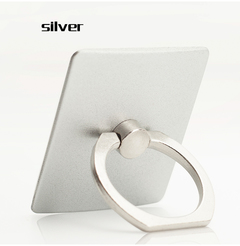 Mobile phone ring bracket square metal lazy ring buckle 360% rotating mobile phone bracket silver One size