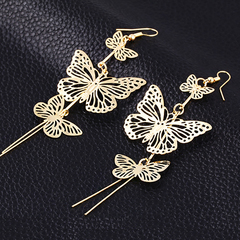 Exaggerated hollow butterfly earrings wild earrings personalized earrings jewelry gold one size