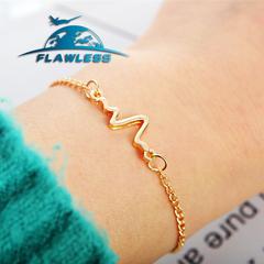 Simple personality ECG lightning bracelet lovers heartbeat frequency bracelet Gold one size