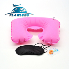 Travel Sambo Travel Sambo Aviation Flocking Pillow Air Cushion + Eye Mask + Earplugs pink 26.5*44cm