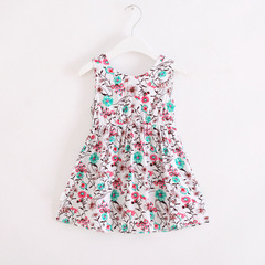 Dresses for Girls Age 4-8 Years Old Summer Kids Flowers Print Pattern Fashion Cotton Clothes b 110 cm