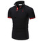 Men's Fashion Personality Cultivating Short-sleeved Shirt POLO tshirt black xxl cotton