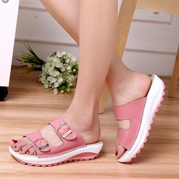 Summer new fashion women's slippers casual shoes fitness shoes sandals pink 37