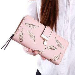 New ladies wallet long fashion clutch bag hollow leaves zipper buckle wallet female bag