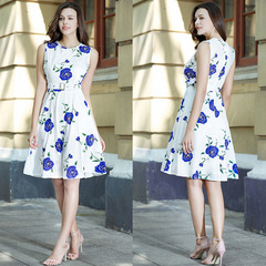 New women's dress work office casual dress beach skirt casual style dresses s A-blue