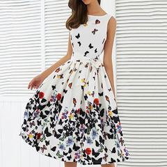 New women's sleeveless print retro big swing skirt dress clothes dresses l white