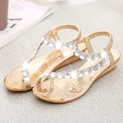 New sandals female flat bottom rhinestone toe beach shoes Bohemian wedge with women's shoes golden 41