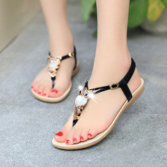 New flat beaded bohemian women sandals female pin toe flat with female  slippers shoes black 38