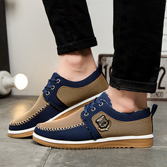 New canvas casual men shoes british loafers flats men sport shoes men's flat shoes brown 39