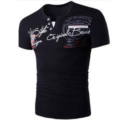 New Men's Slim Letter Print Short Sleeve V-neck T-Shirt black xl cotton