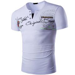New Men's Slim Letter Print Short Sleeve V-neck T-Shirt white xl cotton
