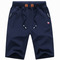 New men sports shorts drawstring jogging pants shorts sports casual pants trousers dark  blue 2XL