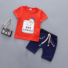 New children's clothing boy infant cotton casual short-sleeved sports red 90