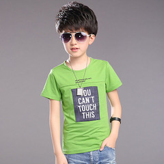New children's and boy summer wear baby T-shirt and  cotton green and white 130cm kids green 110 cotton