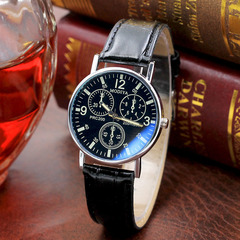 New Gift Men's Watch Fashion Quartz Watch Men's Blu-ray Glass Belt Men's Watch full black one size