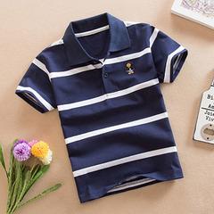 New children's short-sleeved T-shirt cotton polo shirt child boy baby child half-sleeved t-shirt dark blue number 8 cotton