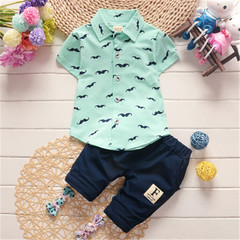 New Boys Clothing Children's Wear Tops T-Shirt + Shorts Set Children's Casual Cute Baby Set blue 70