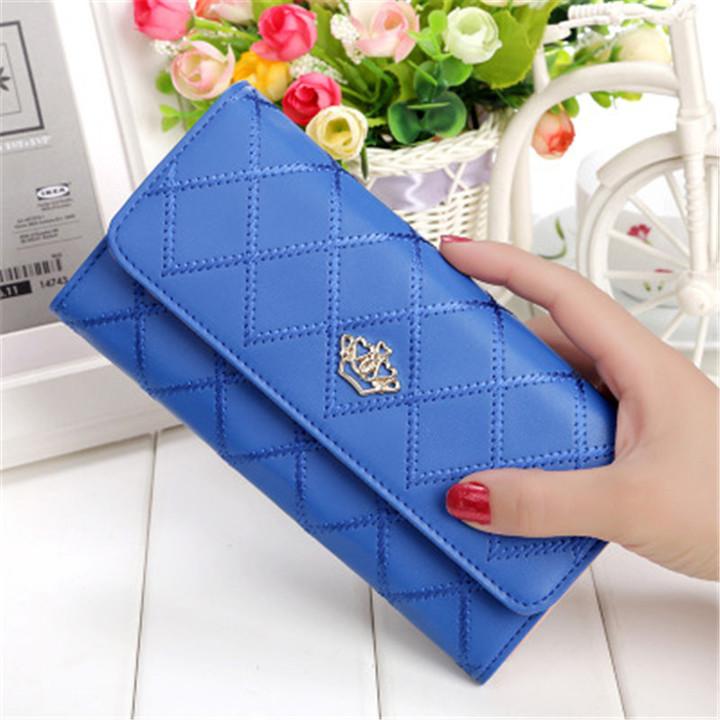 New ladies wallet long zipper small fresh crown rhombic multi-function wallet dark blue onesize