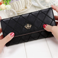 New ladies wallet long zipper small fresh crown rhombic multi-function wallet black onesize