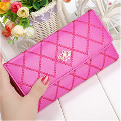 New ladies wallet long zipper small fresh crown rhombic multi-function wallet purple onesize