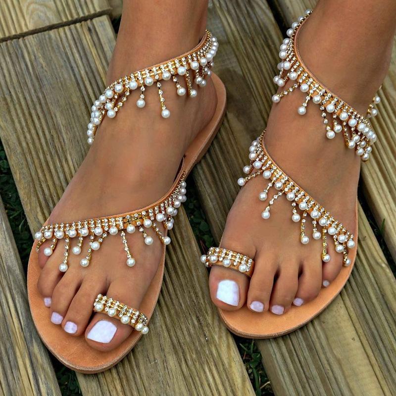 1f7d91019c76 New Vintage Fashion Women Leather Beading Flat Sandals Women Bohimia ...