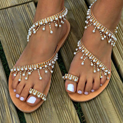 New Vintage Fashion Women Leather Beading Flat Sandals  Women Bohimia Beach Sandals Shoes brown 41