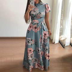 New style flower print short sleeve large swing dress women's dresses xl light blue