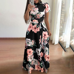 New style flower print short sleeve large swing dress women's dresses m black