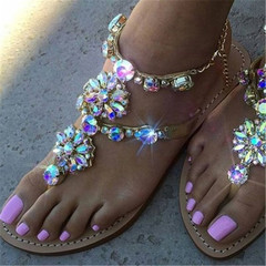 New  woman Sandals Women Shoes Rhinestones Chains Thong Gladiator Flats Sandals golden 40