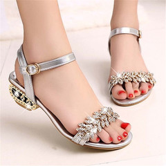 New Ladies Fashion Flat-soled Shoes Sandals Women's Rhinestone Sandals shoes silver 38