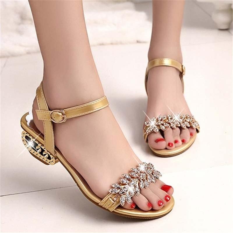 8a73594483f15b New Ladies Fashion Flat-soled Shoes Sandals Women s Rhinestone ...