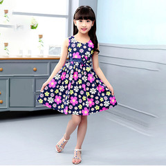 New  girl Dresses Cotton Printed Skirts Short-sleeved Slim Children's Princess dresses black 120